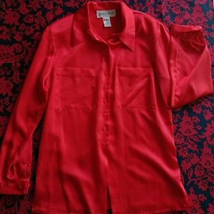 80's Red Satin Button- Up - Size 8